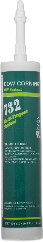 Dow Corning 1892070 732 Clear Multi-Purpose Sealant, -60 to 180 Degree C, 300 mL