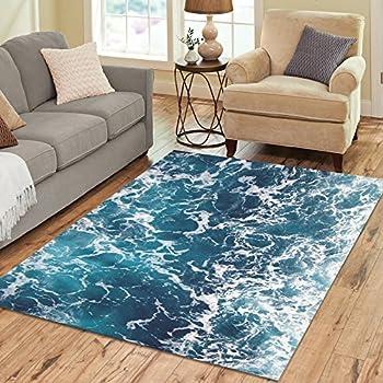 InterestPrint Ocean Wave Sea Polyester Area Rug Floor Mat 7u0027 X 5u0027 Feet,