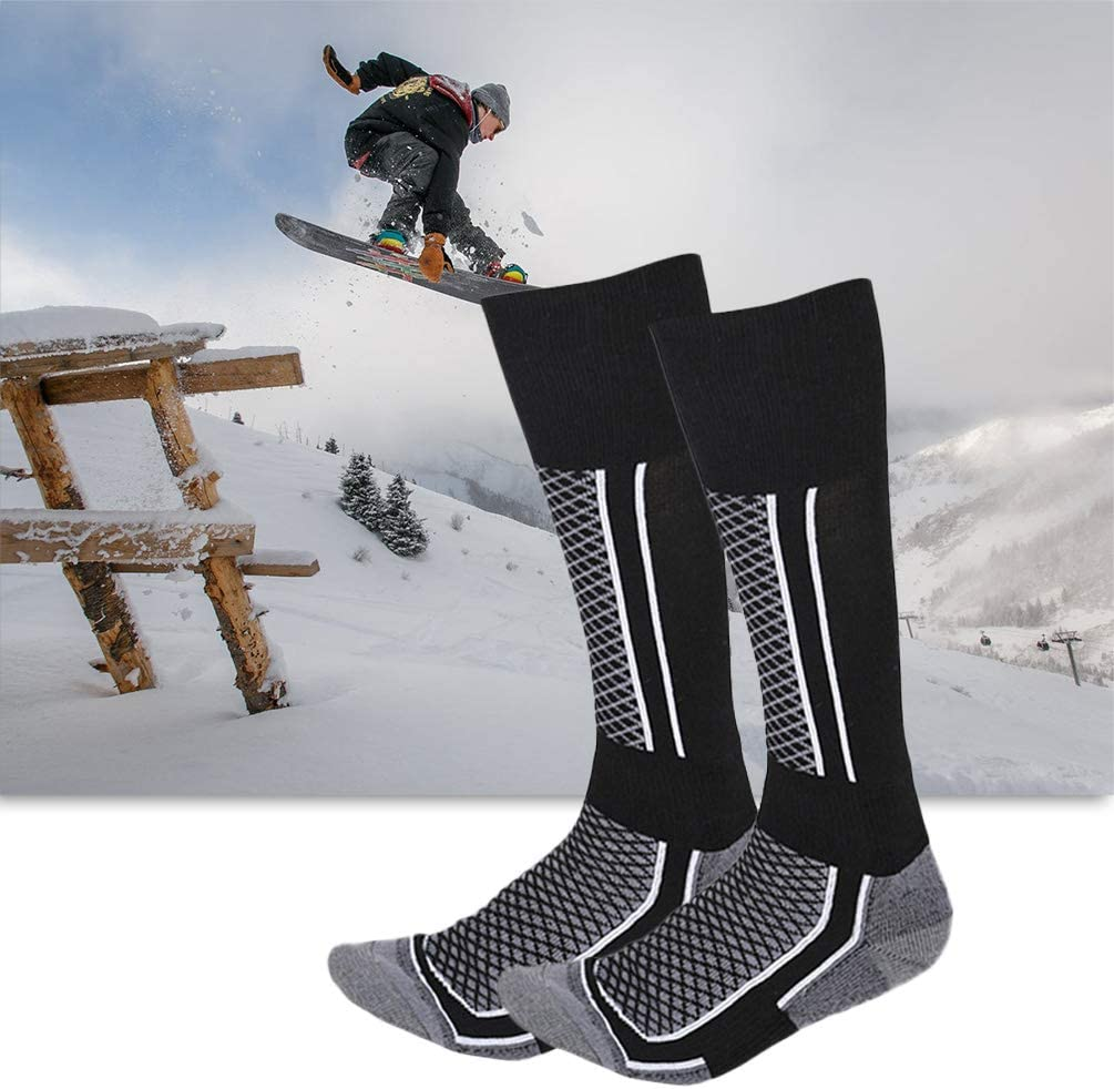 Sto/ßfeste LIFEZONNY Skisocken Lange Schlauchstr/ümpfe Atmungsaktive Snowboardstr/ümpfe aus Baumwolle Kniestr/ümpfe zum Radfahren und Skifahren