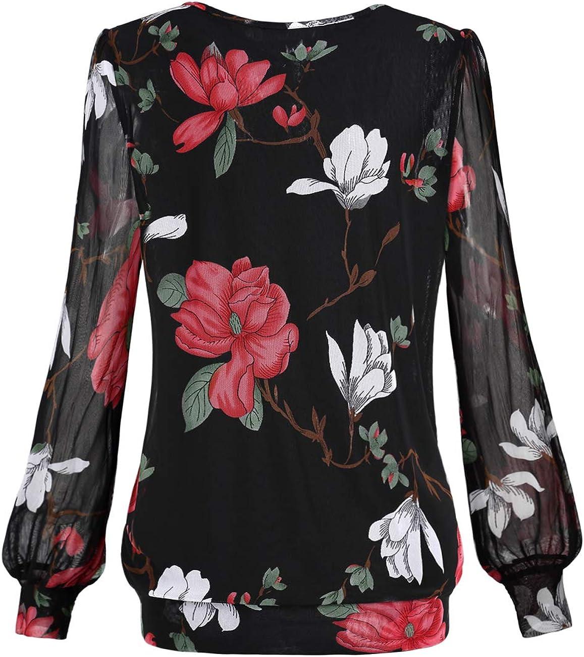 Camiseta de manga larga plisada con cuello redondo para mujer BasishengGT