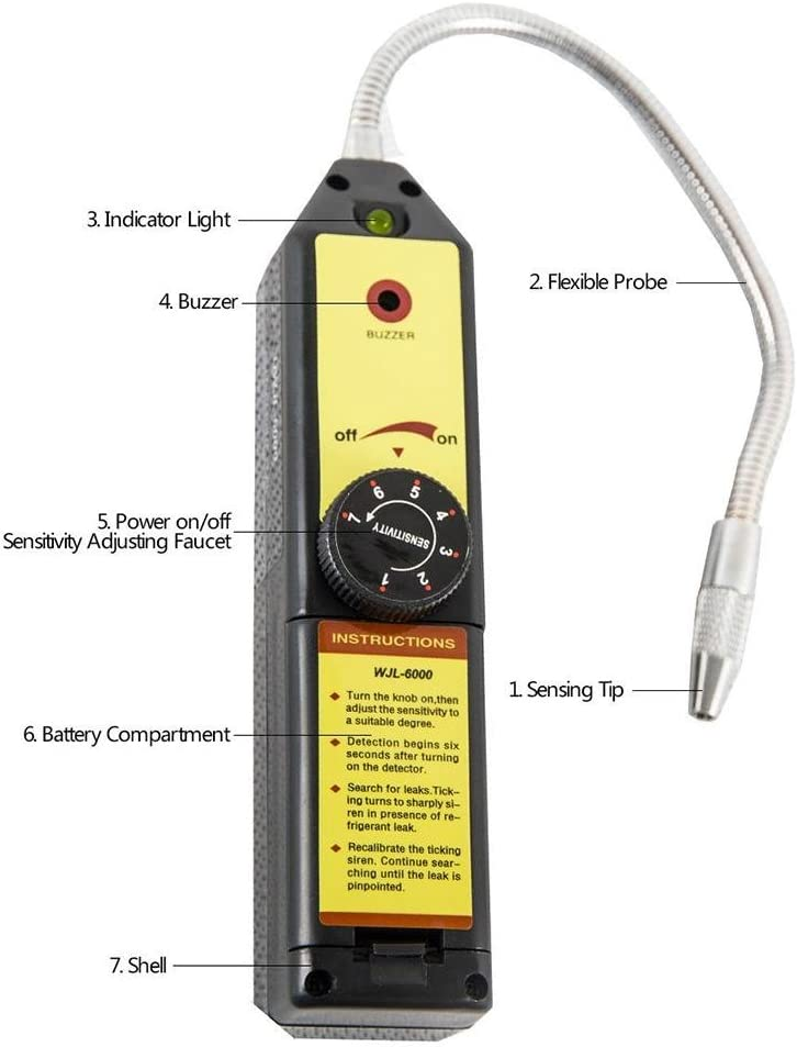 Godyluck Detector de Fugas de Gas de refrigeraci/ón Comprobador de Fugas de fre/ón Detector de Fugas de hal/ógeno port/átil Comprobador con Alta sensibilidad para el Aire Acondicionado del autom/óvil