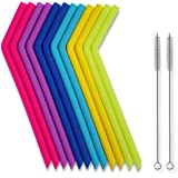 Reusable Straws - Big Reusable Silicone Drinking Straws with Cleaning Brushes for 30 oz Tumblers RTIC/Yeti, Tifanso 14PCS Extra Long Flexible Bendy Straw, BPA FREE - No Rubber Tast