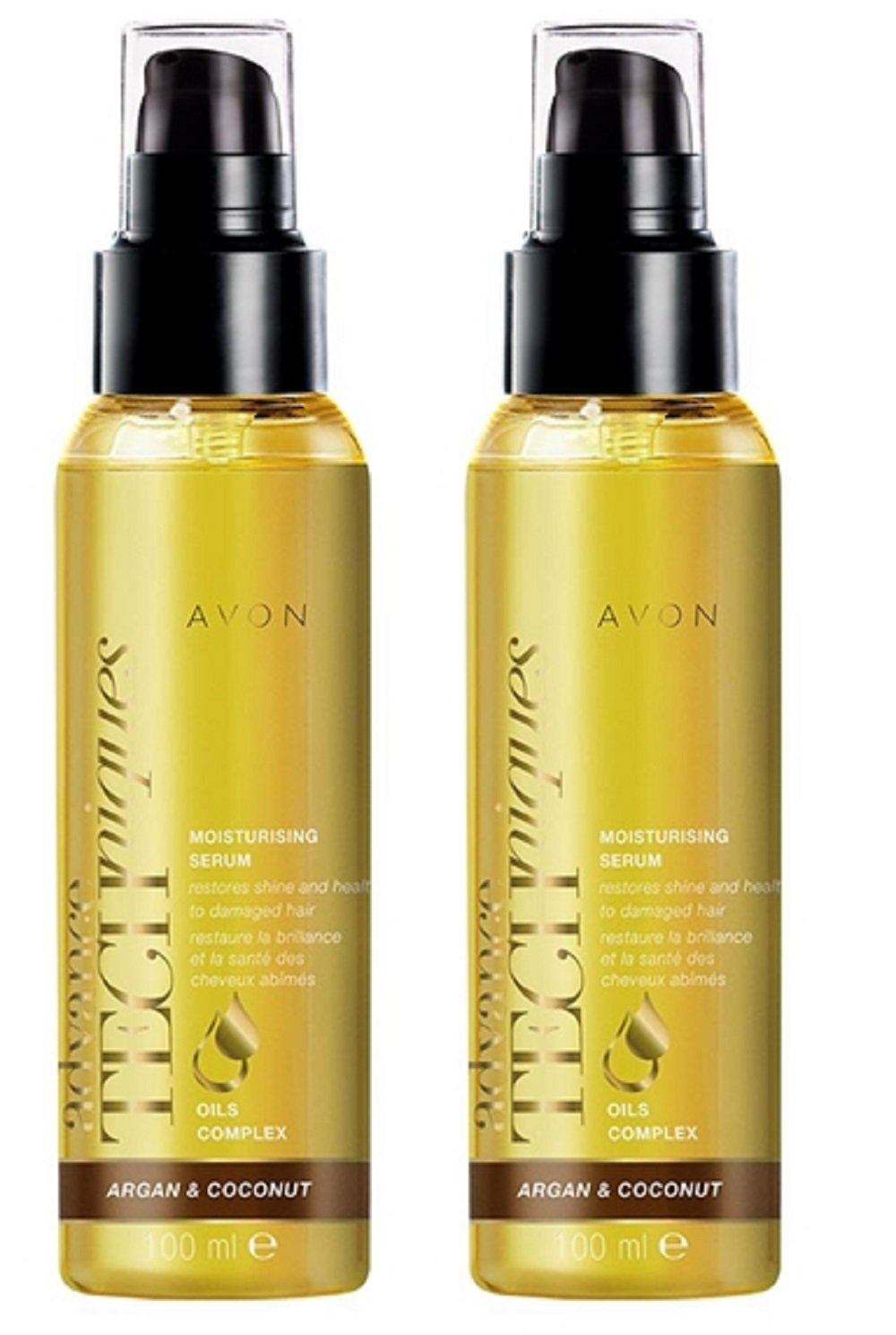 2 x Advance Techniques Argan & Coconut Oil Moisturising Serum – 100ml Avon