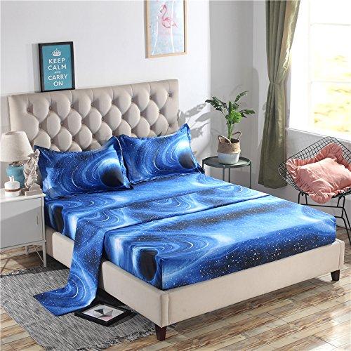 Juwenin Home Galaxy 3D Printing Bed Sheet Bedding Set, 100% Soft Microfiber Fitted Sheet (XK005, Full)