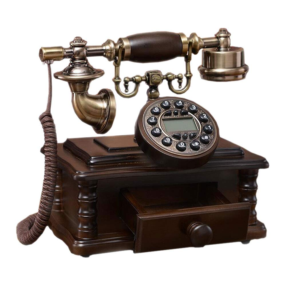 LCM Double Bell Retro Phone with Drawer Brown Solid Wood Metal Button Pastoral Fashion Creative Seat European Home Office by LCM