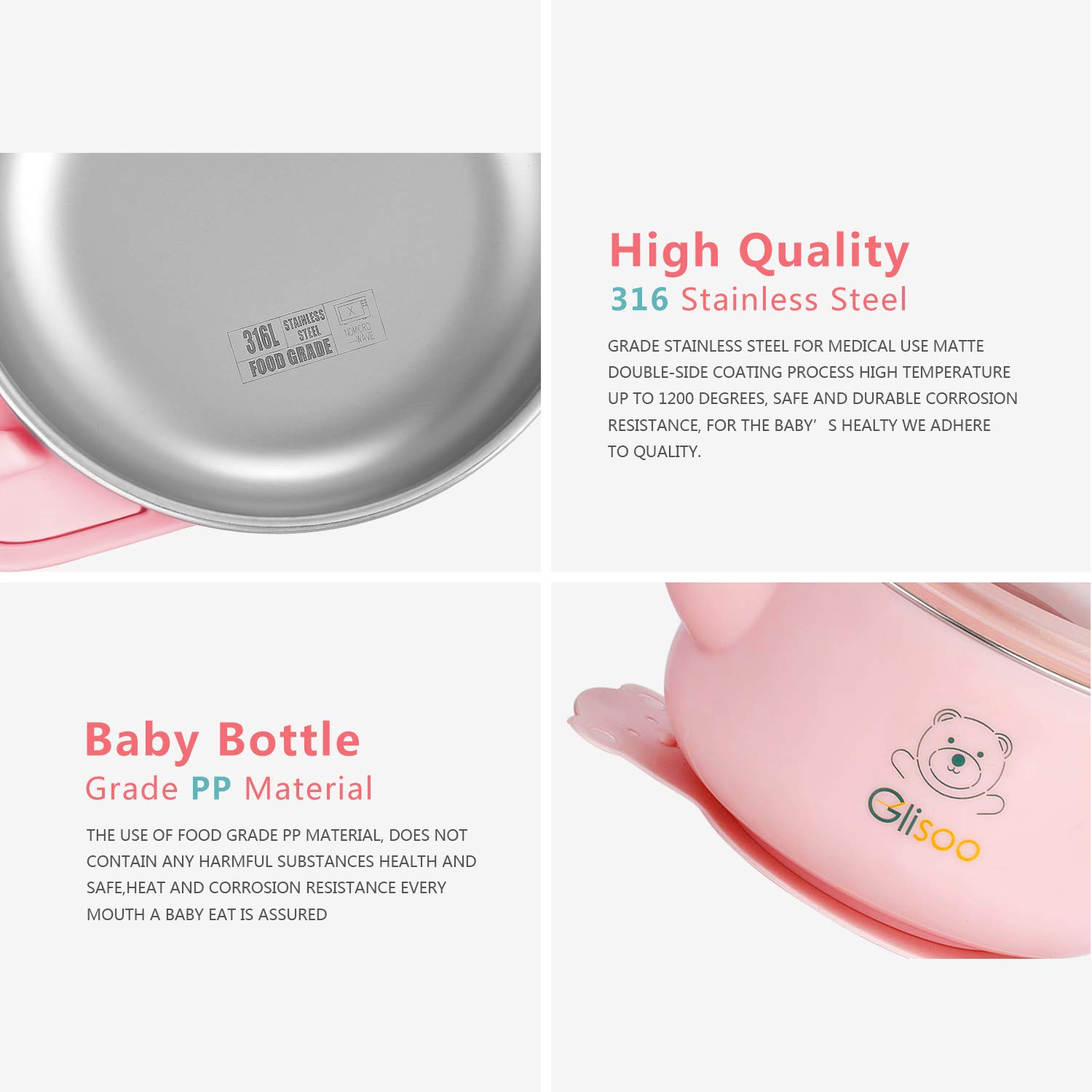 BPA Free Baby Feeding Set, Feeding Bowl with Lid, Salad Bowl, Milk Cup,Spoon and Fork for 6m Toddlers,316 Stainless Steel,Gift Set Tableware Set by Glisoo Pink