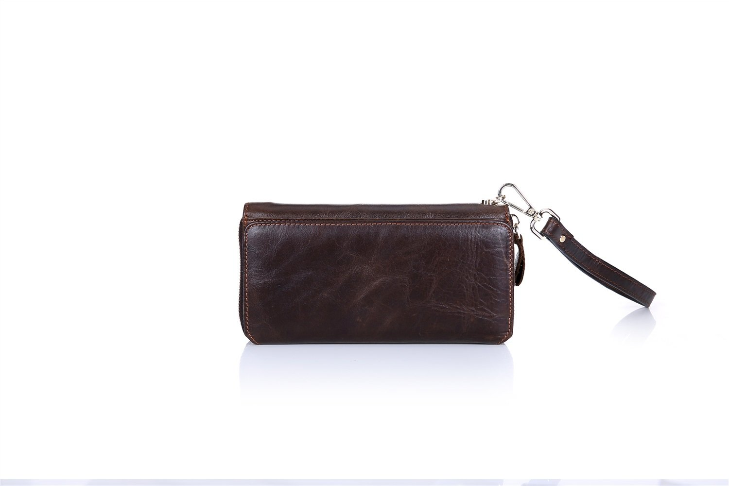 MUMUWU Mens Long Travel Wallet Leather Business Hand Bag Multi-Function Suede Leather Multi-Card Position Color : Brown, Size : S