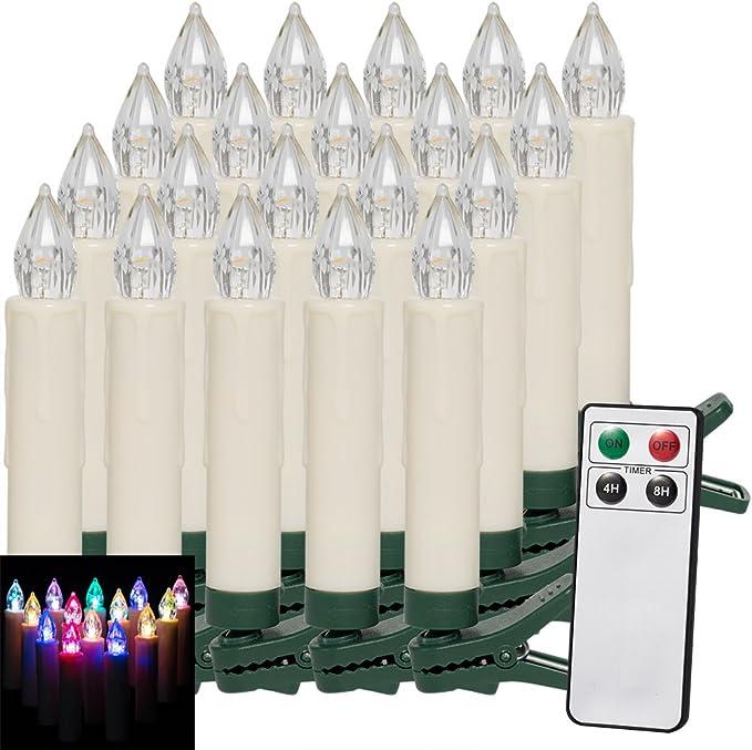 kabellos 20 LED Weihnachtsbaumkerzen mit simulierter Acryl-Flamme Timer Weihnachtsbeleuchtung Weihnachtskerze f/ür Innen Flacker-Modus