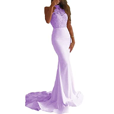 QueenDress Womens Sexy Long Lavander Lace Mermaid Prom Dresses Halter Formal Evening Dress With Long Train