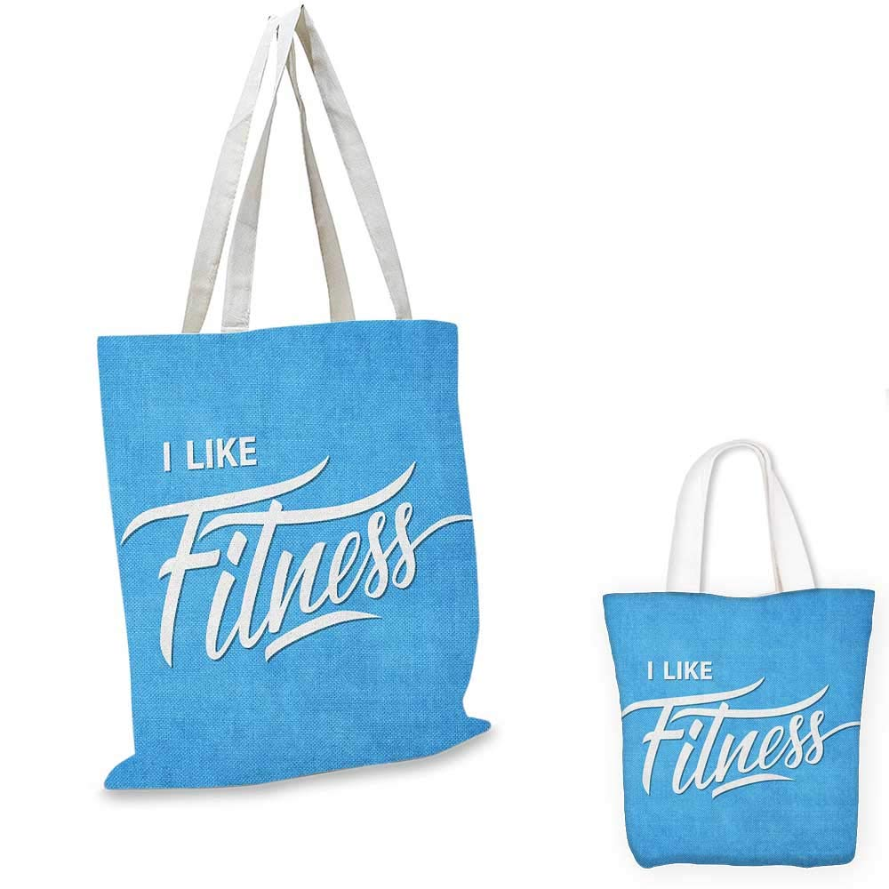 13x13-10 Fitness fashion shopping tote bag I Like Fitness Sports and Work Out Athletic Lifestyle Theme Exercise Health canvas bag shopping Pale Blue White