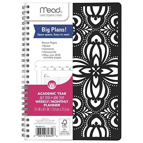Mead 2018-2019 Academic Year Weekly & Monthly Planner - Appointment Book Planner - Twin-Wire Binding - Black Laser Cut-Outs Flexible Cover 5 1/2 x 8 1/2