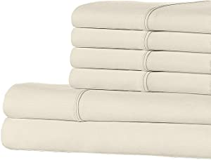 Ella Jayne Home EJH500SS_IV_3 500 Collection 100% Real Egyptian Cotton 500TC 6 Piece Complete Bedroom Flat Sheet Bed Set, Ivory, Queen