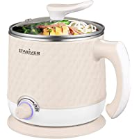 Stariver Electric 1.8L Multi-Functional Mini Hot Pot with Keep Warm Function (Beige)
