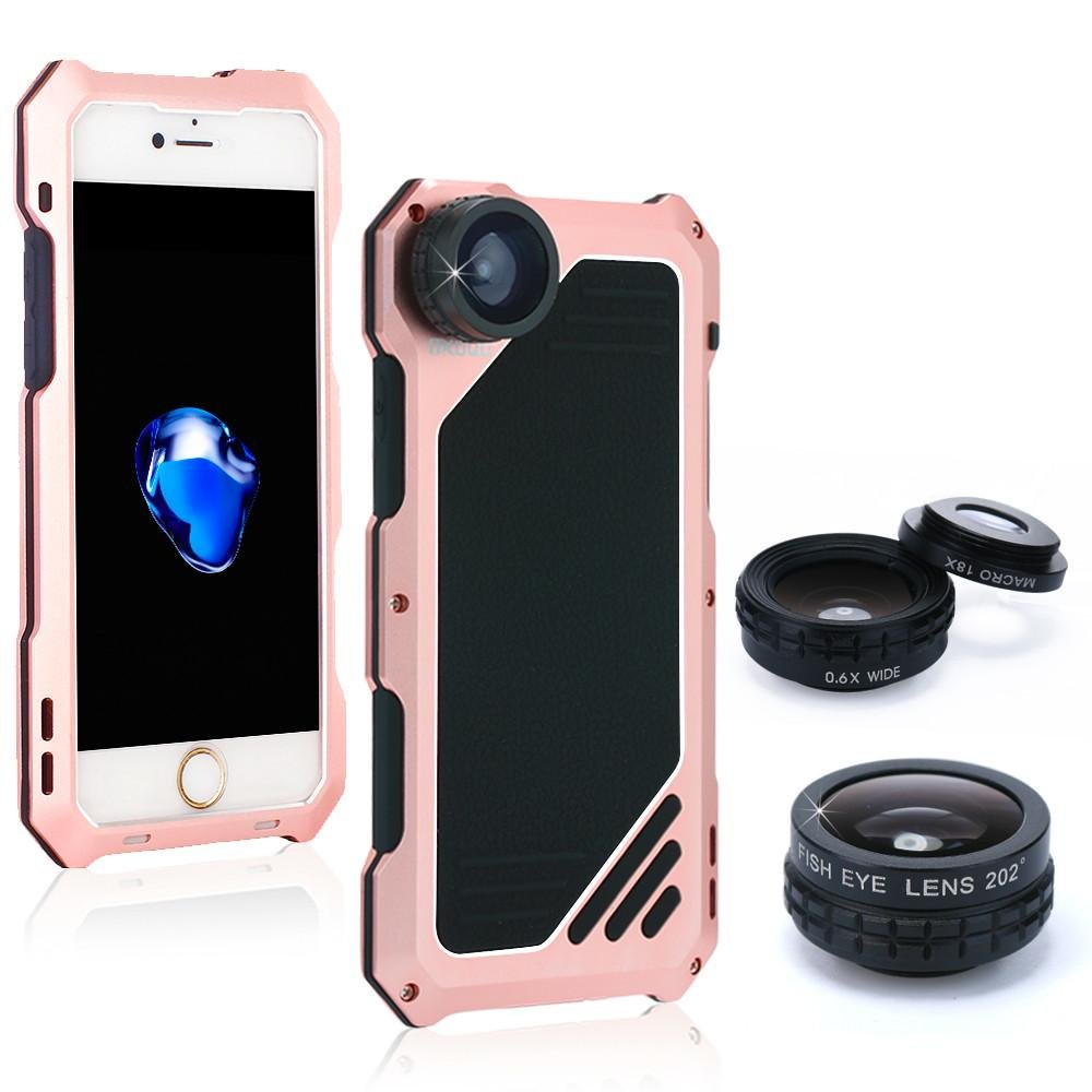 iPhone 6/6s Camera Lens Kit, OXOQO 3 in 1 198° Fisheye Lens + 15X Macro Lens + Wide Angle Lens with IP54 Dustproof Shockproof Aluminum Case, Built-in Screen Protector for IPhone 6/6s 4.7 Inches(Gold) 6025779418607