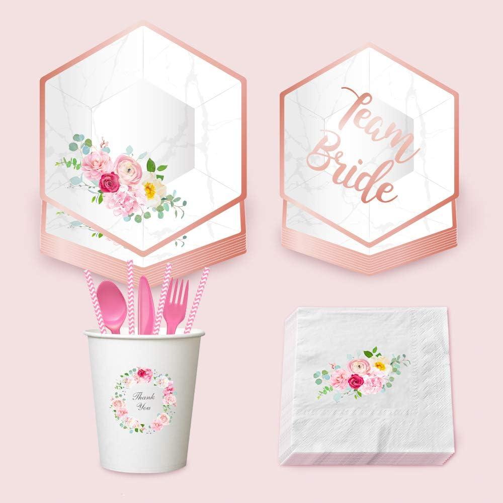 Amazon Com Ljcl Disposable Rose Gold Floral Paper Tableware Set