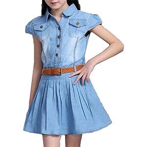 [美しいです] 夏 子供用 キッズ サスペンダー ゆったり ドレス カジュアル レジャー ファッション ガールズ 女の子 ジャンパースカート 可愛い ワンピース 通園 通学 お姫様 お洒落 七五三 プリーツスカート デニムスカート写真色A130cm