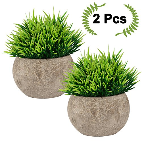Fake Plant for Bathroom/Home Decor, The Bloom Times Small Artificial Faux Greenery for House Decorations (Potted Plants) - Long Stem Topiary