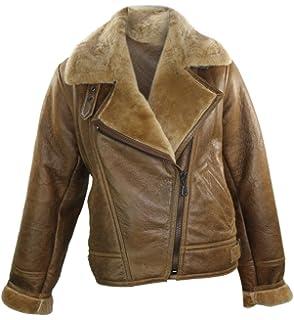 2ef249e2c1c Ladies Winter Vintage 100% Real Sheepskin Leather Biker Camel Brown Ginger Aviator  Flying…