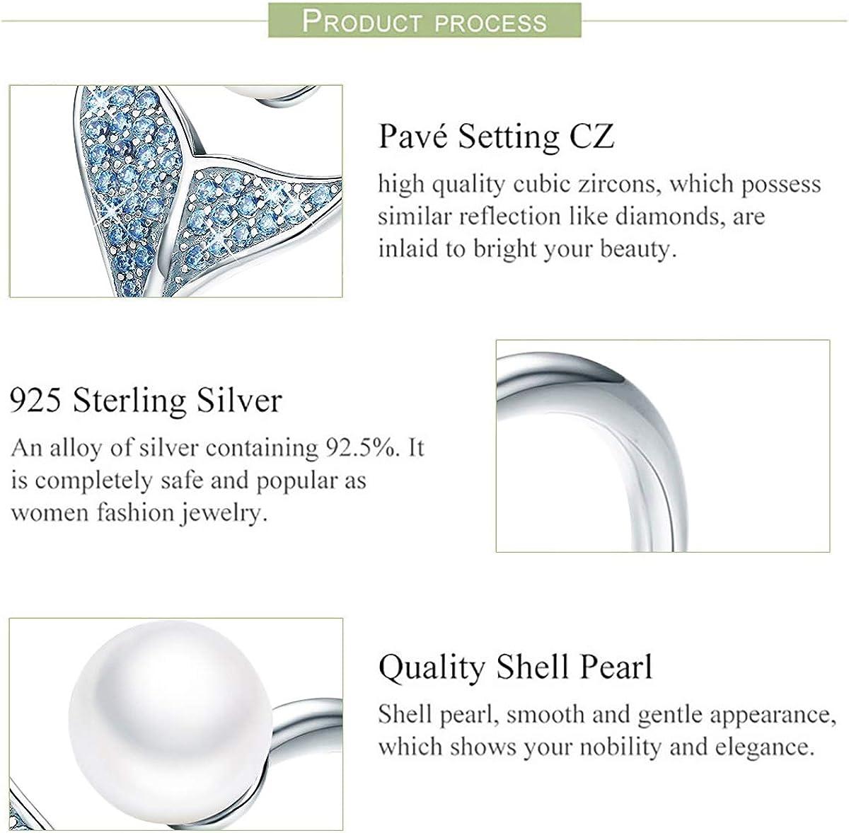 Helen de Lete Shining Rhinestone Snake Big Pearl 925 Sterling Silver Necklace