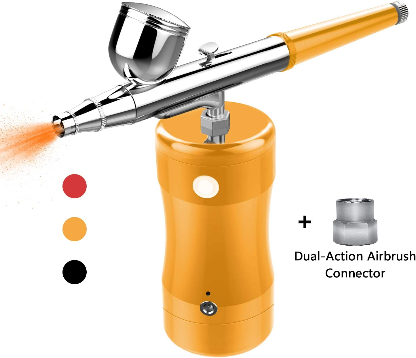 COSSCCI Upgraded Airbrush Kit, Portable Mini Air Brush Spray Gun with Compressor Kit Single Action Air Brush Painting Kits for Cake Decorating Makeup Art Nail Model Painting Tattoo Manicure (Gold)