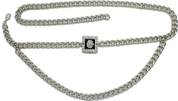 Women Cute Fashionable Bling Belt Silver Metal Chain Lion Charm Buckle XL XXL