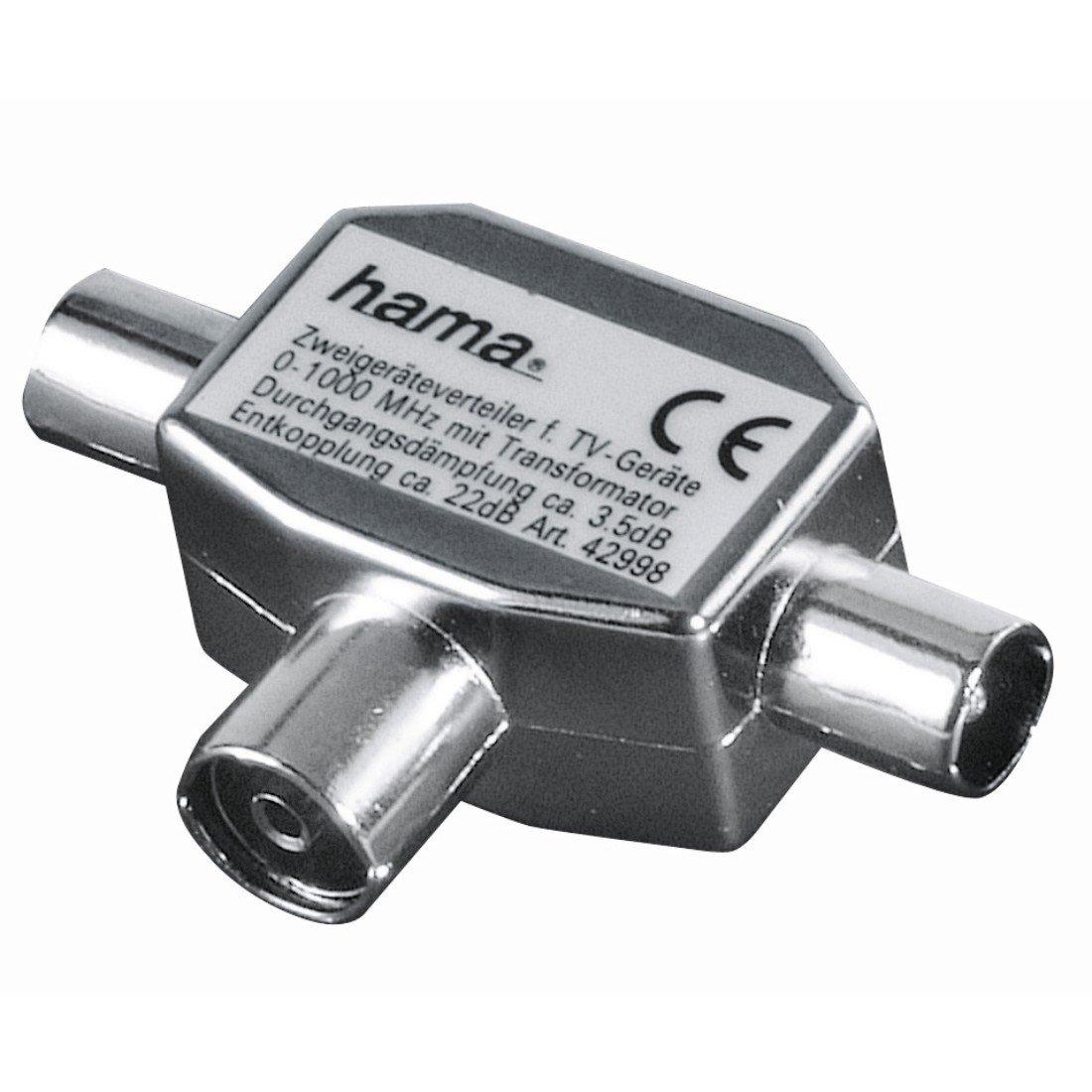 Koax-Kupplung - 3 Koax-Stecker Hama Antennen-Verteiler Frustfreie Verpackung