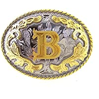 HUABOLA CALYN Western Belt Buckle Initial Letters ABCDEFG to Y-Cowboy Rodeo Gold Large Belt Buckle for Men and Women (B)