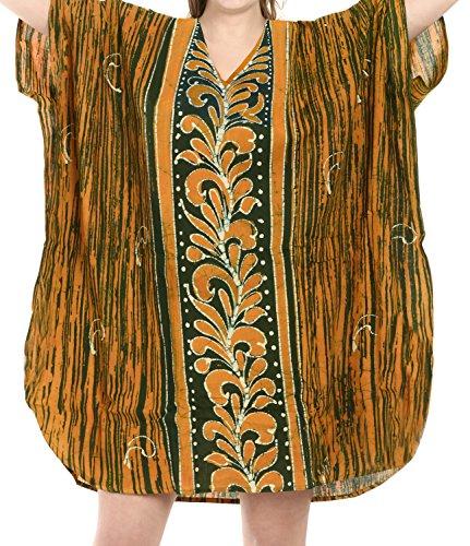 caftano Verde caftano pura camicia i128 100 breve batik LEELA sera notte da camicetta LA cotone C4p7qw7