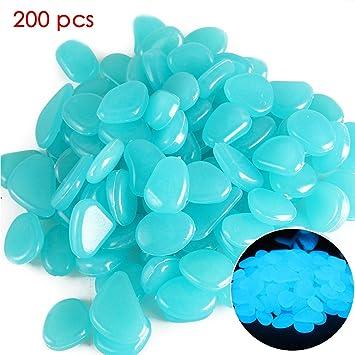 GeKLok 200 Piedras Artificiales Brillantes en Color Oscuro para decoración de jardín, jardín, Paseo, Acuario, pecera, San Valentín, Azul Claro, ...