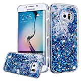 Galaxy S6 Edge Case, Galaxy S6 Edge Liquid Glitter Case,PHEZEN 3D Creative Design Shiny Quicksand Flowing Bling Glitter Sparkle Heart Clear Hard Case for Samsung Galaxy S6 Edge - Blue Diamonds