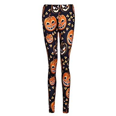 Womens Printed Leggings Full Length Colorful Pants (Small, Pumpkin)