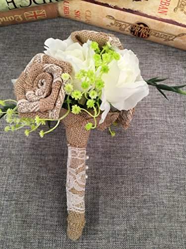Duane Loyd Design Wedding Burlap Bouquet Roses with Artificial Pearl and Lace (Style #2)]()