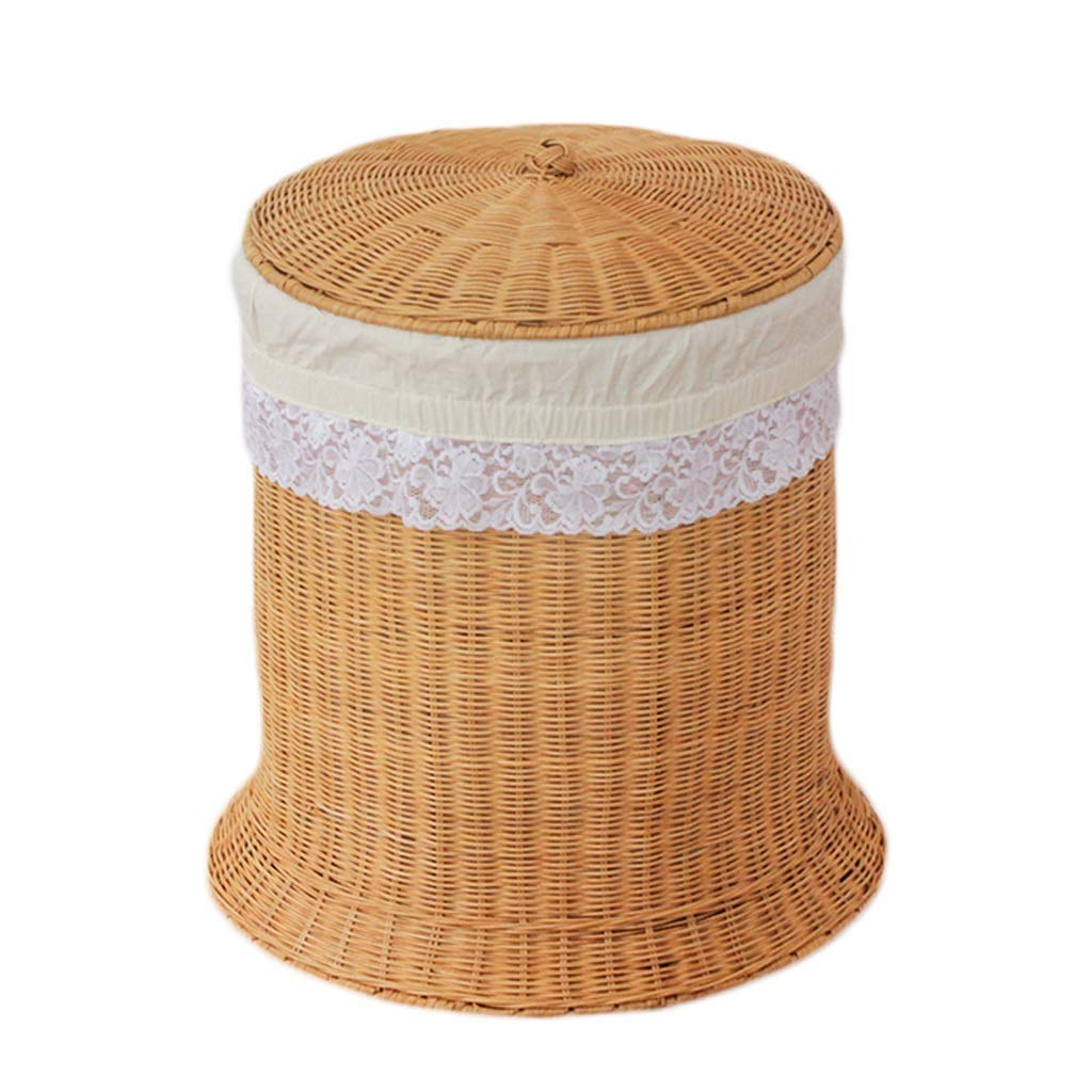 Home DecorAddition Diaper Toy Hamper Storage Basket Rattan with Lid Laundry Basket Cotton Burlap Lining Portable Dirty Hamper Clothes Sundries, 45 38 50cm (Color : A) (Color : A)