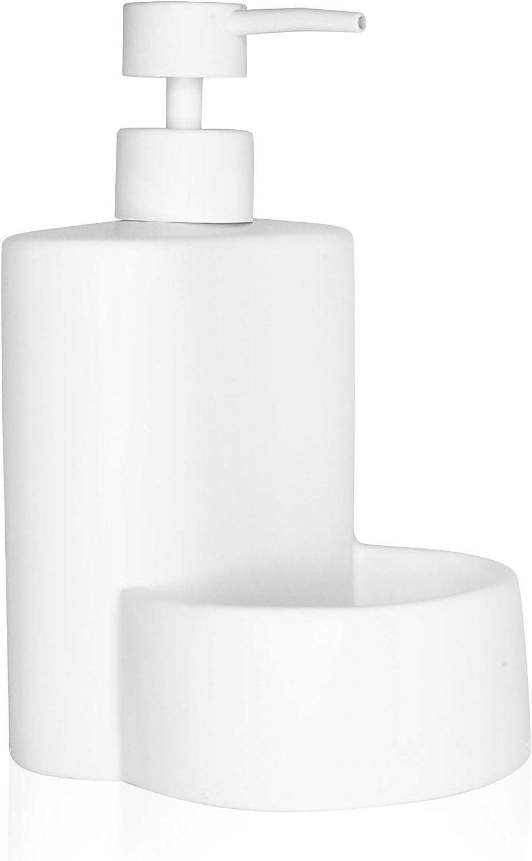Kook Time Dispensador de Jabón Líquido de Cerámica Mate para Cocina con Hueco para Estropajo, 10 x 11.5 x 8 cm. (Blanco)