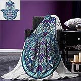 Hamsa Patterned blanket Eastern Culture Belief Turkish Spiritual Symbol in Retro Arabian Style beach blanket Blue Pale Blue Purple size:51''x31.5''