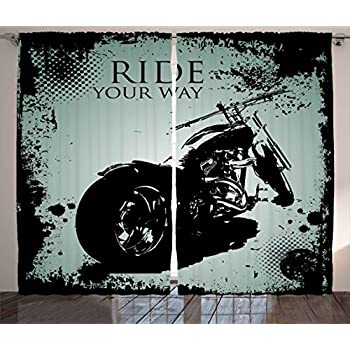 Ambesonne Vintage Curtains, Retro Motorcycle with Black Dots and Splatters Chopper Road Trip Artwork, Living Room Bedroom Window Drapes 2 Panel Set, 108W X 63L Inches, Black and Light Blue