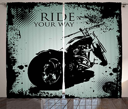 Splatter Motorcycle - Ambesonne Vintage Curtains, Retro Motorcycle with Black Dots and Splatters Chopper Road Trip Artwork, Living Room Bedroom Window Drapes 2 Panel Set, 108W X 63L Inches, Black and Light Blue