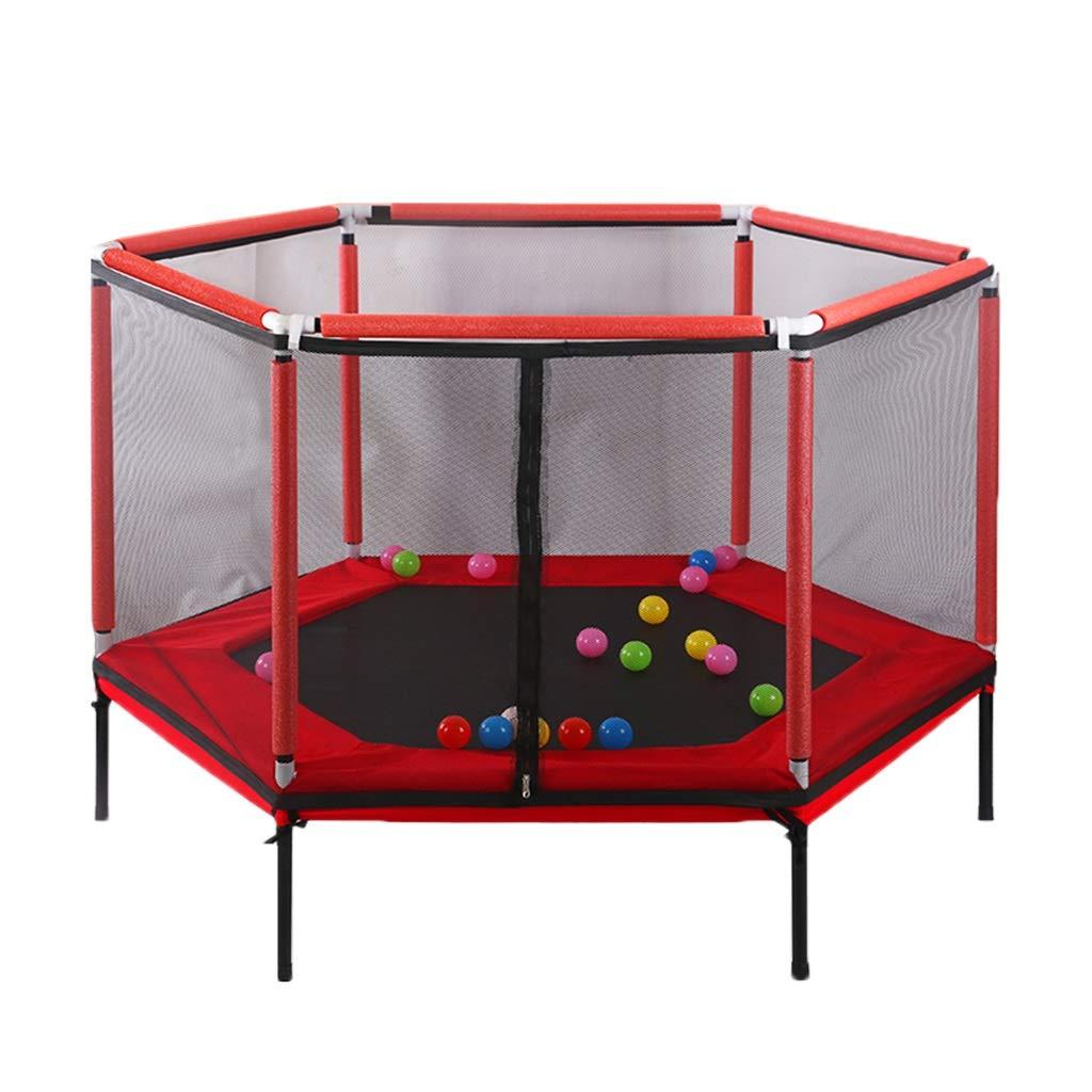 Gartentrampoline Trampoline-Kindersicherheits-Spielzaun Ausgangshallen-Schlagkind-Kindertrampolin Eignung mit Zaun (Farbe : ROT, Größe : 157  157  110cm)