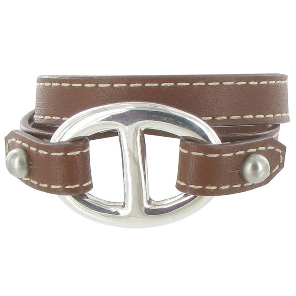 Les Poulettes Jewels - Sterling Silver Bracelet Double Turn - With Leather and Marine Knot Design - Classics - Deep Brown