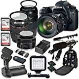 Canon EOS 6D 20.2 MP Full Frame CMOS Digital SLR DSLR Camera w/ EF 24-105mm f/4 L IS USM Lens + Tamron AF 70-300mm f/4.0-5.6 + EF 50mm f/1.8 STM Lens + Holiday Accessory Bundle