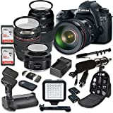 Canon EOS 6D 20.2 MP Full Frame CMOS Digital SLR DSLR Camera w/EF 24-105mm f/4 L IS USM Lens + Tamron AF 70-300mm f/4.0-5.6 + EF 50mm f/1.8 STM Lens + Holiday Accessory Bundle