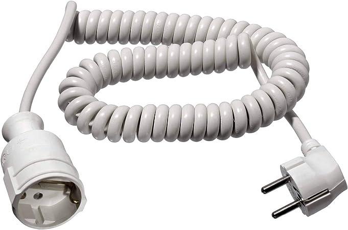 fiche et couplage as-Schwabe 70412 Rallonge /électrique spirale C/âble blanc 2,5m H05VV-F 3G1,5 IP20