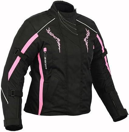 TheWhiteWater Blouson de moto pour femme en textile CE Armure Noir//blanc//gris
