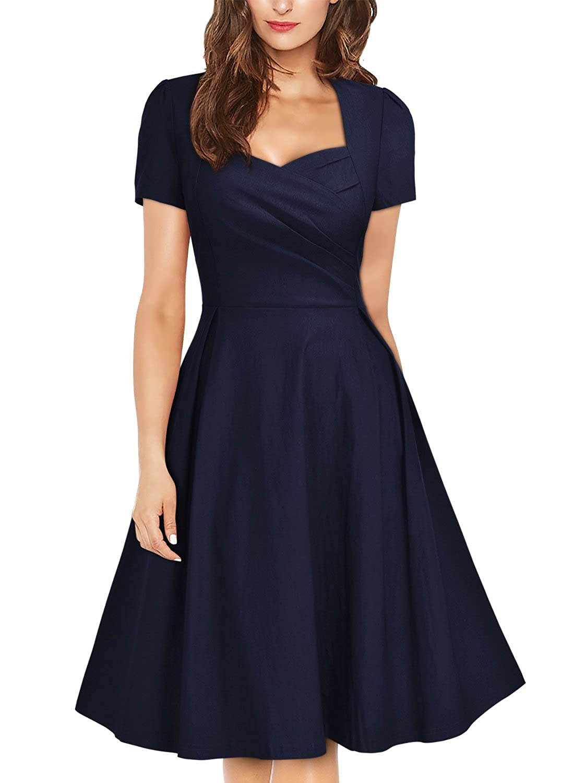 Missmay Women\'s Navy Style Short Sleeve Vintage Party Pleated ...