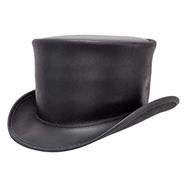 f424dbfaa87c Voodoo Hatter El Dorado-Unbanded by American Hat Makers Leather Top Hat at  Amazon Men's Clothing store