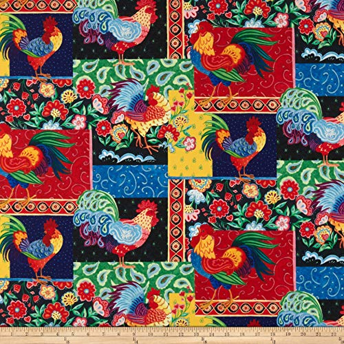 Springs Creative Products Susan Winget Painted Rooster Patch Digital Woven Fabric, Multicolor, Fabric By The Yard