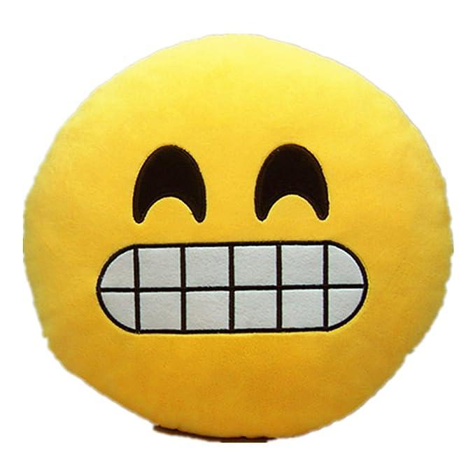 Emoji Emoticono Cojín Almohada Redonda Emoticon Peluche Bordado Sonriente (Emoji 3)