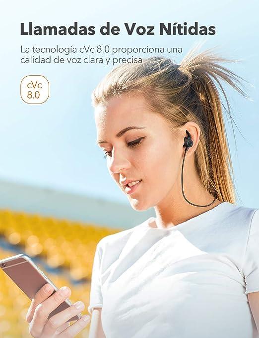 TaoTronics Auriculares Bluetooth 5.0 SoundElite 72 aptX Audio HD 3 EQ Auriculares Deportivos Magnéticos Cancelación de Ruido CVC 8.0 Micrófono