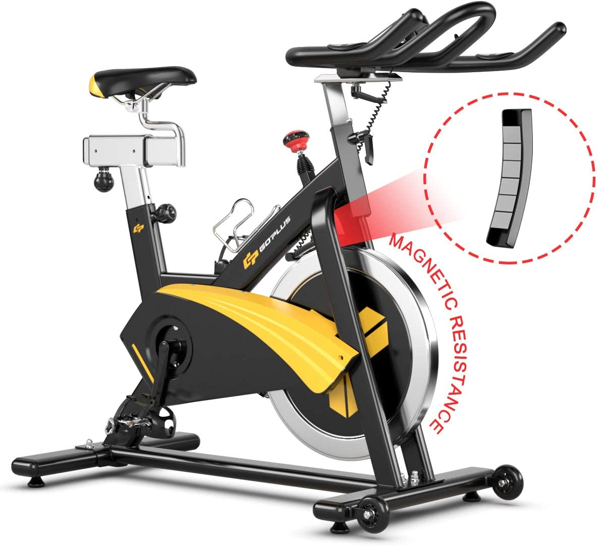 Goplus Magnetic Exercise Bike, Stationary Belt Drive Bicycle, with LCD Monitor, Indoor Cycling Bike for Home Gym Cardio Workout 30 lbs Flywheel