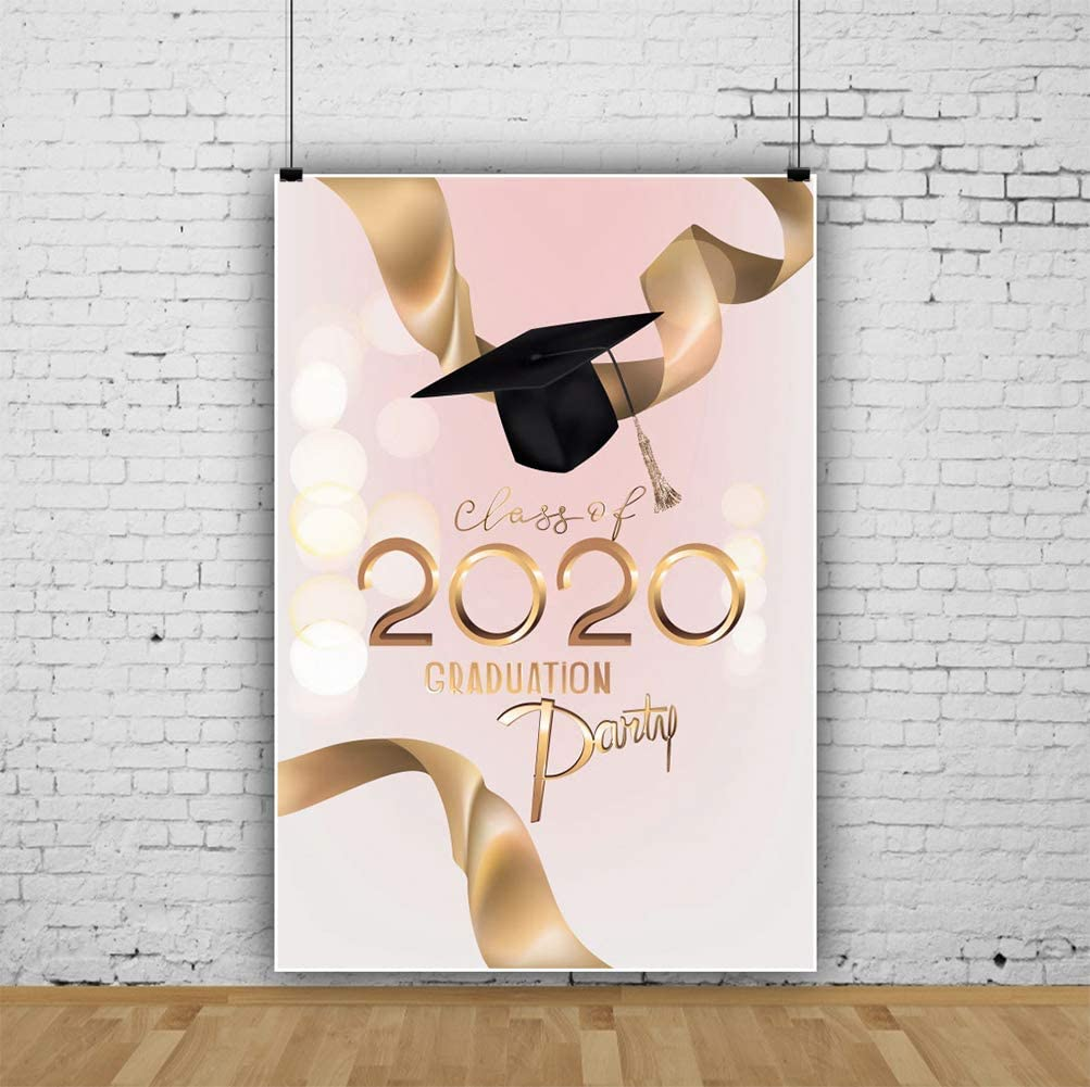 Baocicco 8x10ft Class of 2020 Backdrop Golden 2020 Champagne Ribbons Black Trencher Cap Photography Background Graduation Party Decoration Prom Girls Students Photo Booth Video Prop